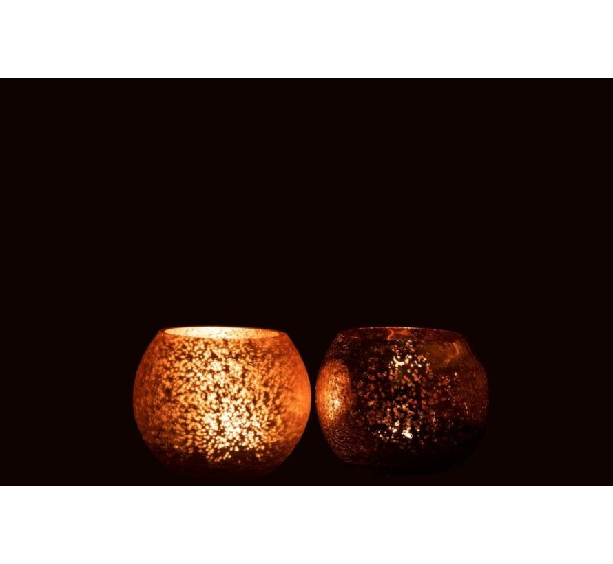 Tealight Holder Glass Ball Crackle Matt Shiny Pink - Small