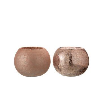 J-Line Tealight Holder Glass Ball Crackle Matt Shiny Pink - Medium