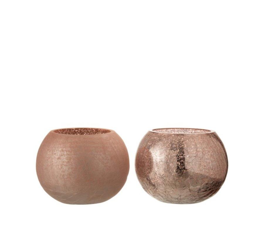 Tealight Holder Glass Ball Crackle Matt Shiny Pink - Medium