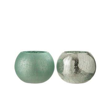 J -Line Theelichthouder Glas Bol Craquele Mat Blinkend Groen - Medium