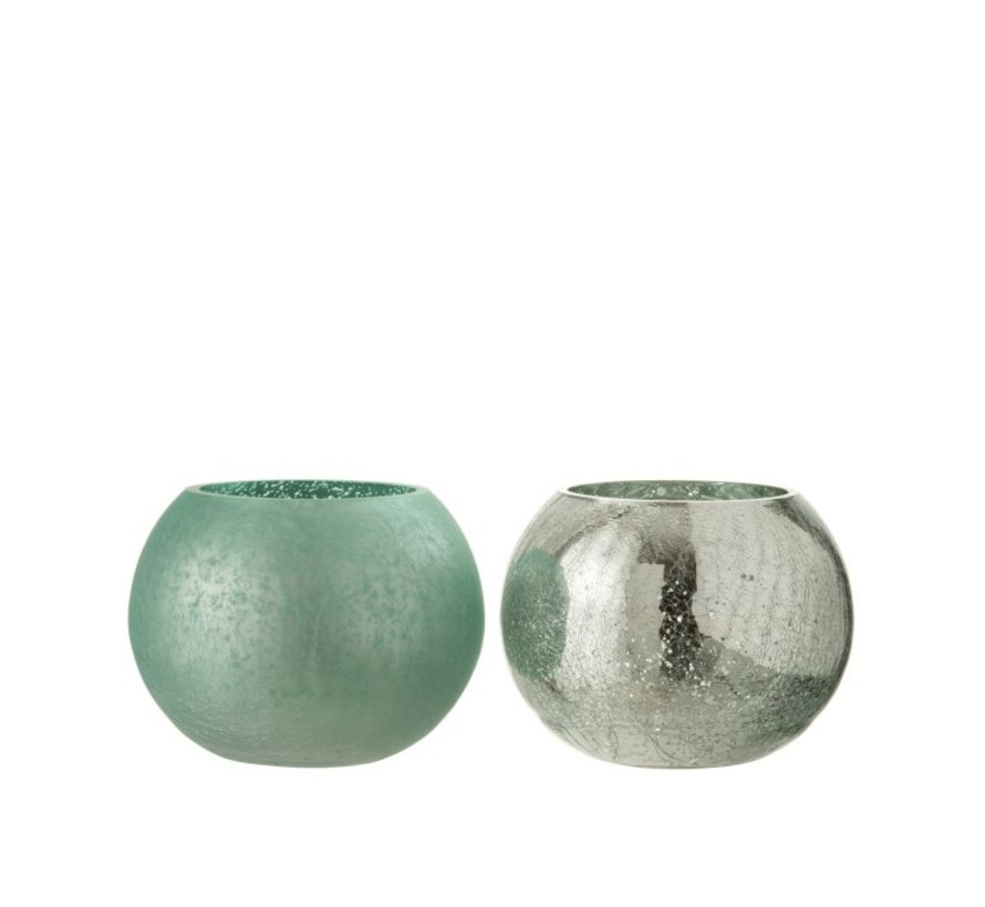 Tealight Holder Glass Ball Crackle Matt Shiny Green - Medium