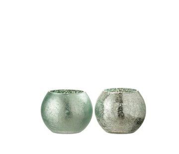 J -Line Tealight Holder Glass Ball Crackle Matt Shiny Green - Small