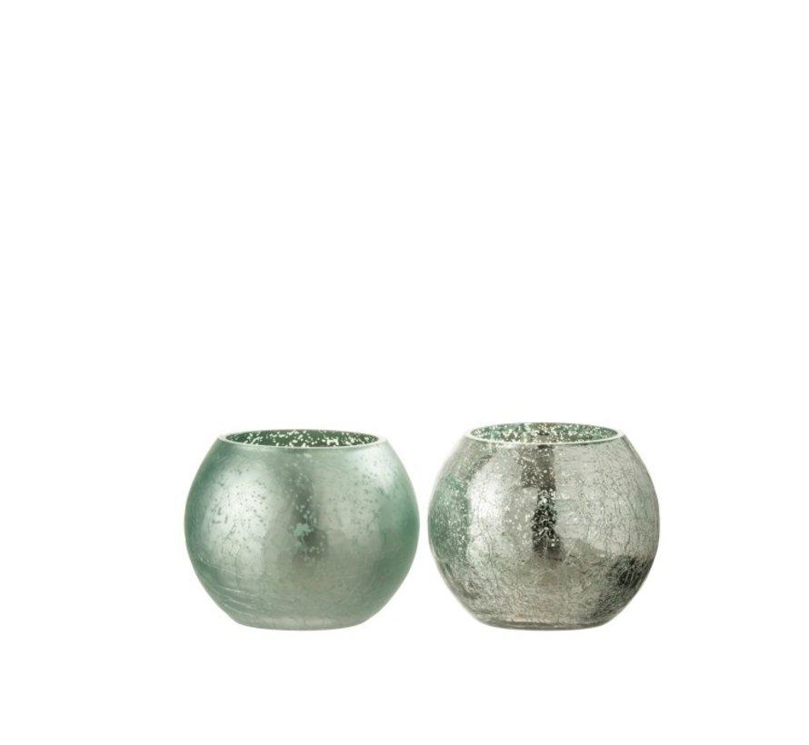 Tealight Holder Glass Ball Crackle Matt Shiny Green - Small