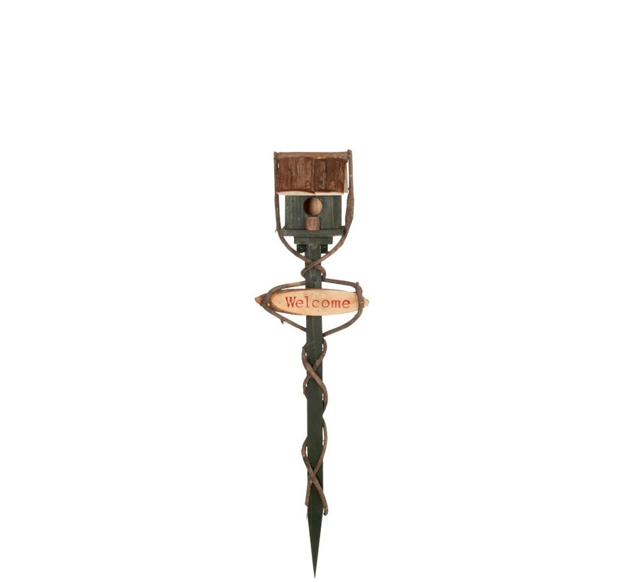Decorative Birdhouse On Stick Welcome Wood - Green