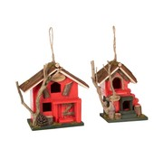J -Line Decorative Birdhouse Welcome Wood - Red