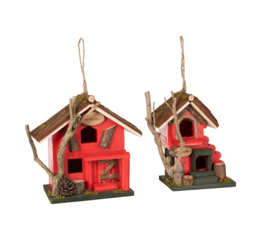 Decorative Birdhouse Welcome Wood - Red
