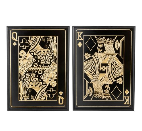 J -Line Wall decoration frame Wood Queen And King Black - Gold
