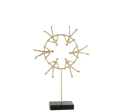 J -Line Decoratie Zes figuren Op Ring Op Voet Zwart - Goud