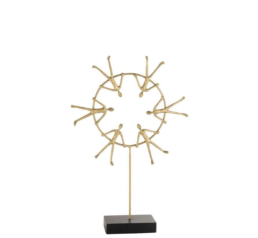 Decoratie Zes figuren Op Ring Op Voet Zwart - Goud