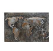 J-Line Wanddecoratie Schilderij Abstract Wereld Grijs - Bruin