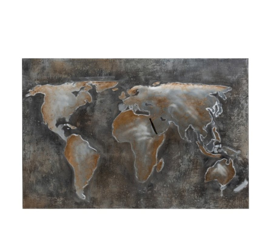 Wall decoration Painting Abstract World Gray - Brown