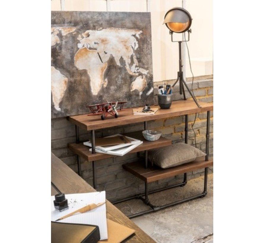 Wanddecoratie Schilderij Abstract Wereld Grijs - Bruin