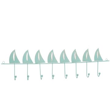 J -Line Wall Coat Rack Metal Sailing boats Nine hooks Azure - Blue