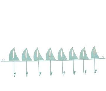 J-Line Wand Kapstok Metaal Zeilbootjes Negen haken Azuur - Blauw