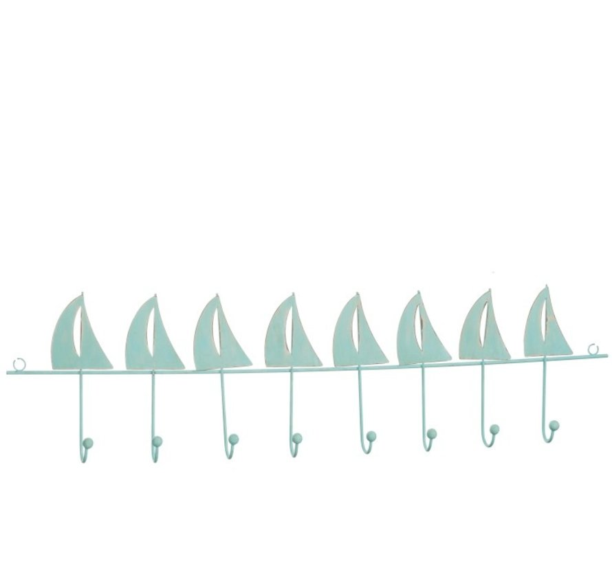 Wand Kapstok Metaal Zeilbootjes Negen haken Azuur - Blauw