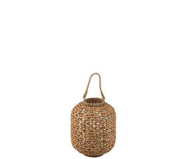 J-Line  Lantern Bamboo Cylinder Natural Brown - Small