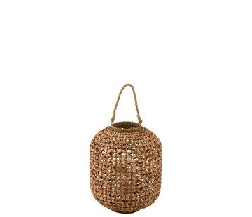 J-Line  Lantern Bamboo Cylinder Natural Brown - Medium