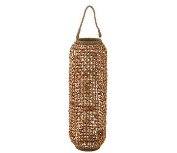 J-Line  Lantern Bamboo Cylinder High Natural Brown - Large