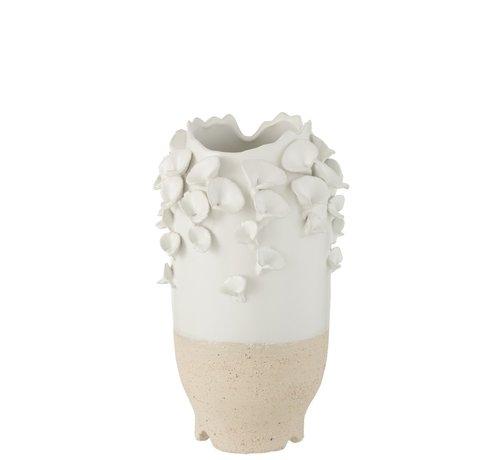 J -Line Vaas Keramiek Cilinder Koraal Wit Beige - Small