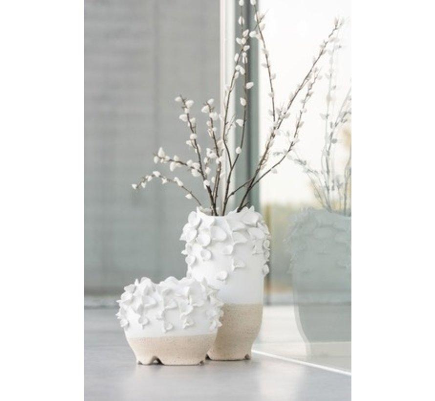 Vaas Keramiek Cilinder Koraal Wit Beige - Small