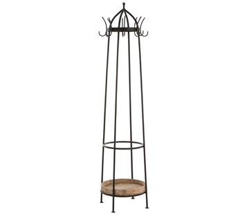 J -Line Standing Coat Rack Round Metal Wood Natural - Black