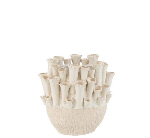 J -Line Vase Ceramic Ball Anemone Beige - Small
