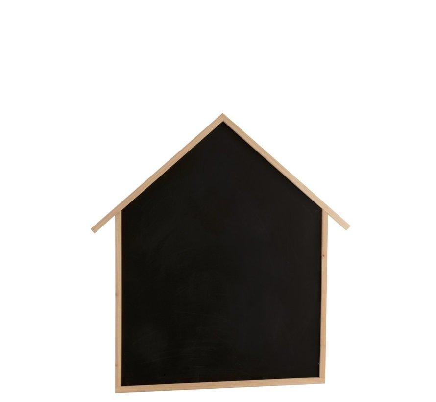 Decoratie Krijtbord Huisje Dennenhout Bruin - Zwart