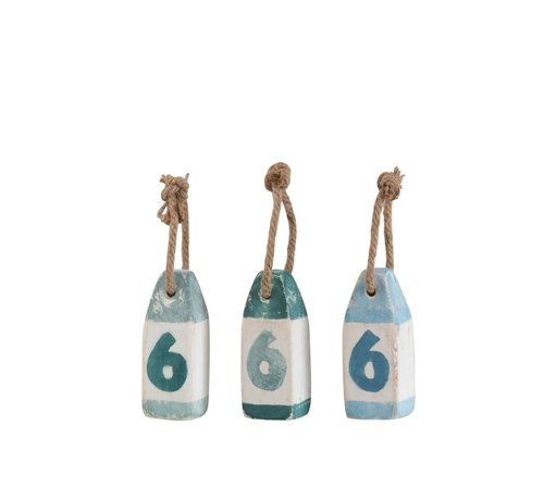 J -Line Decoration Buoys Wood Blue Green White Blue - Small