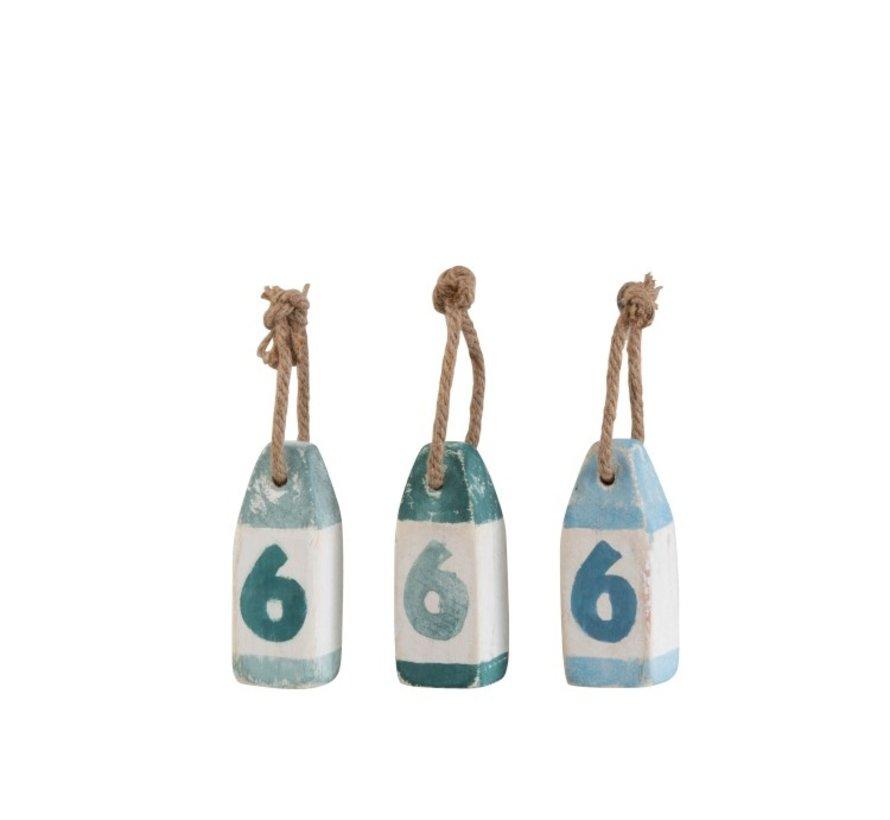 Decoratie Boeien Hout Blauw Groen Wit Blauw - Small