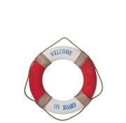 J -Line Decoratie Reddingsboei Welcome Poly Rood - Wit