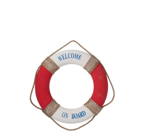 J -Line Decoration Lifebuoy Welcome Poly Red - White