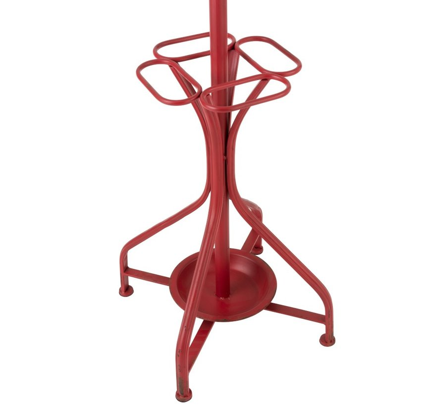 Standing Coat Rack Metal Country Curved - Red