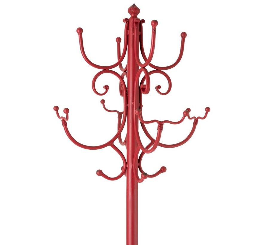 Staande Kapstok Metaal Landelijk Gebogen - Rood