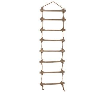 J-Line  Decoration Wall Ladder Wood Jute Natural - Brown