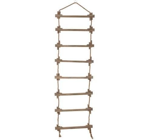 J -Line Decoration Wall Ladder Wood Jute Natural - Brown