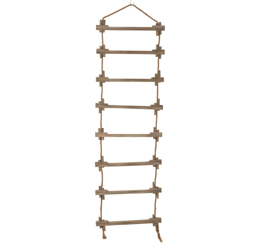 Decoration Wall Ladder Wood Jute Natural - Brown