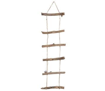 J -Line Decoration Wall Ladder Led Lighting Wood Rope Brown - Large