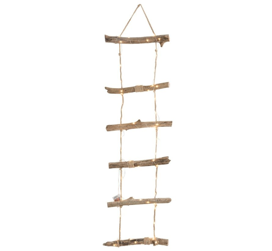 Decoration Wall Ladder Led Lighting Wood Rope Brown - Large