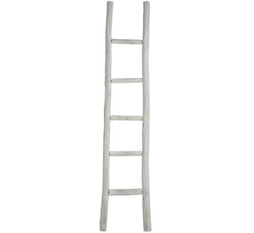 J -Line Decoratie Ladder Ruw Hout Vijf Treden - White wash