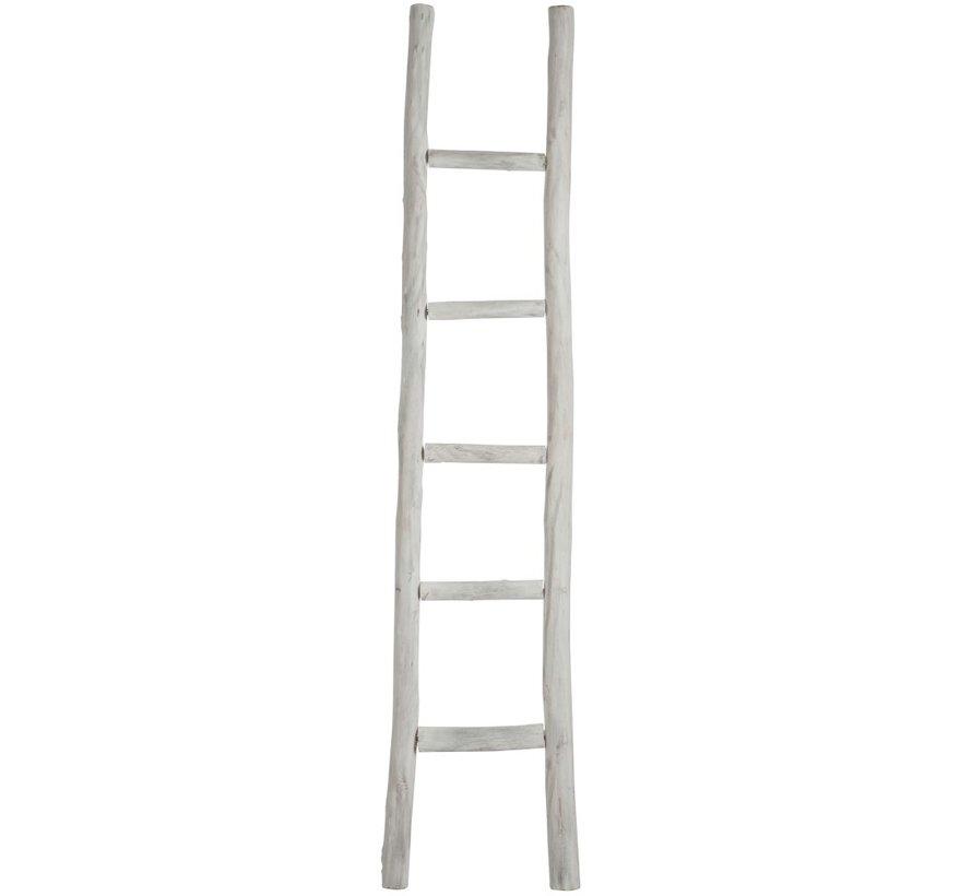 Decoratie Ladder Ruw Hout Vijf Treden - White wash