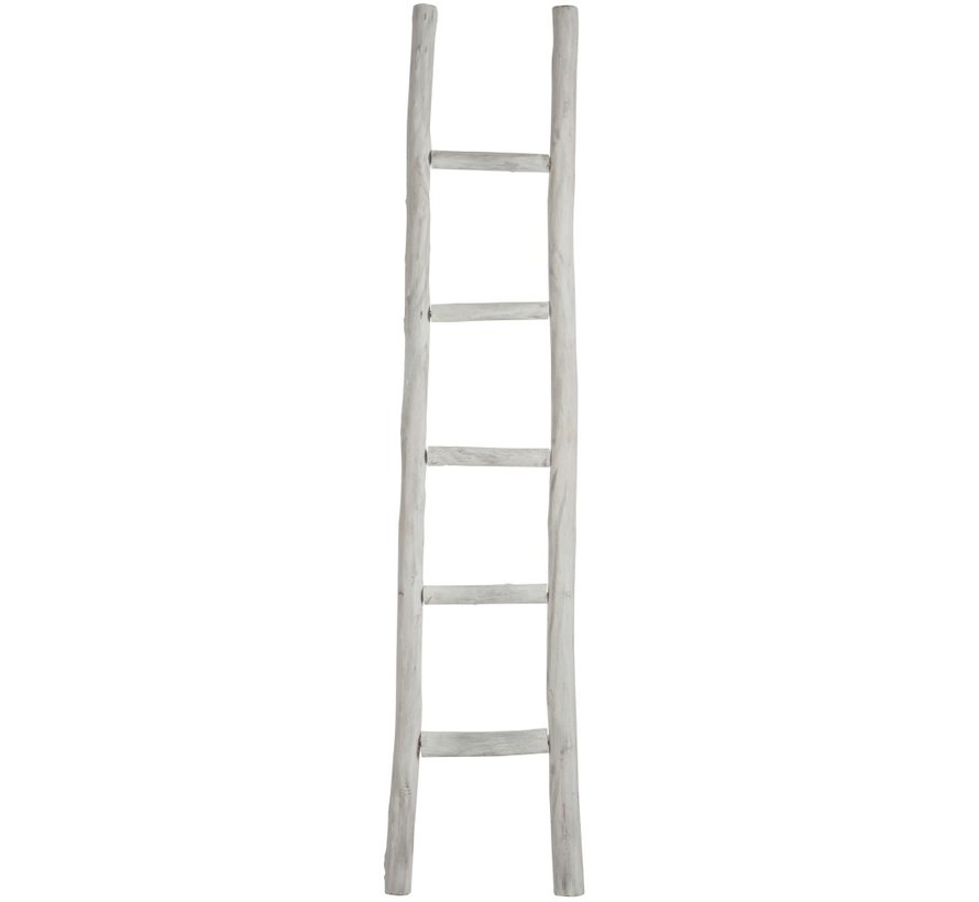 Decoration Ladder Raw Wood Five Steps - White wash