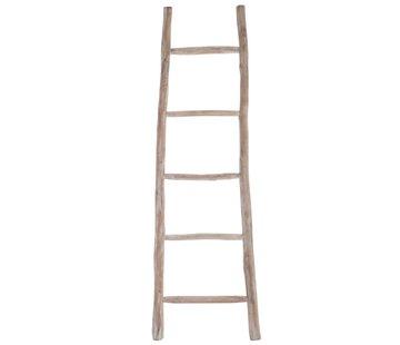 J-Line Decoration Ladder Smooth Wood Five Steps - White wash