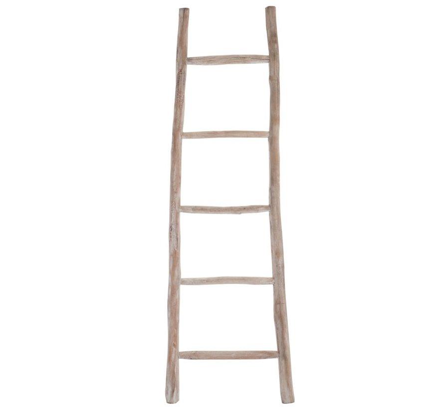 Decoratie Ladder Glad Hout Vijf Treden - White wash