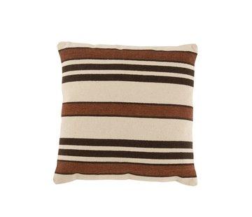 J -Line Cushion Square Cotton Striped Beige Brown - Black
