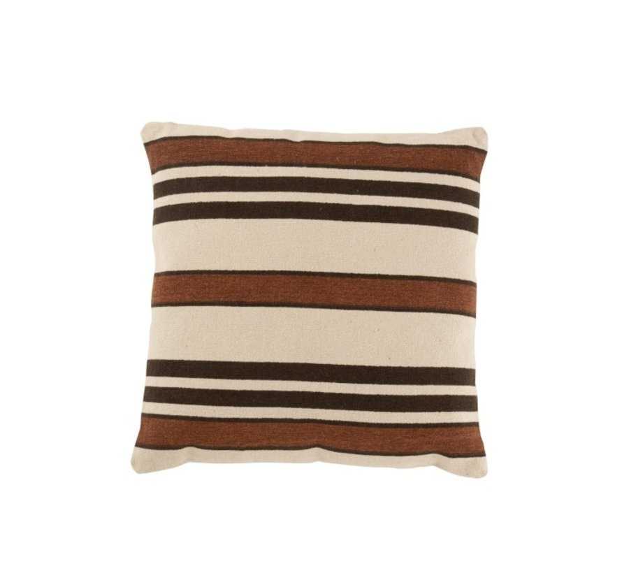 Cushion Square Cotton Striped Beige Brown - Black
