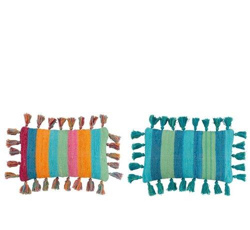 J -Line Kussen Rechthoek katoen Kwastjes Blauw Mix - Kleuren
