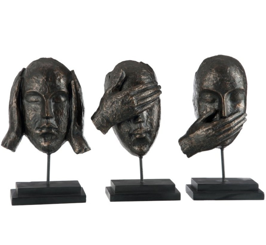 Decoration Heads On Foot Hear See Silence Poly Dark - Brown