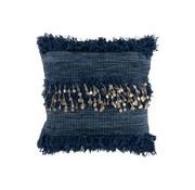 J -Line Cushion Square Cotton Sequins Fringes - Blue
