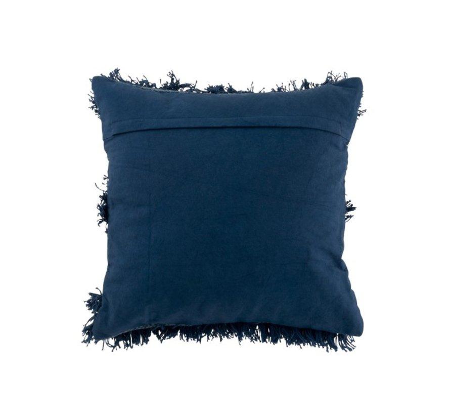 Kussen Vierkant Katoen Pailletten Franjes - Blauw