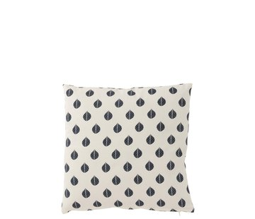 J -Line Cushion Square Cotton Leaves White - Blue